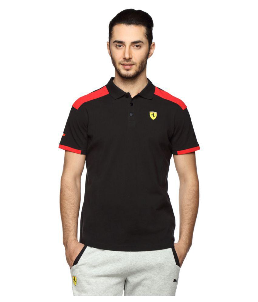 Puma Black Cotton Polo T-Shirt Single Pack