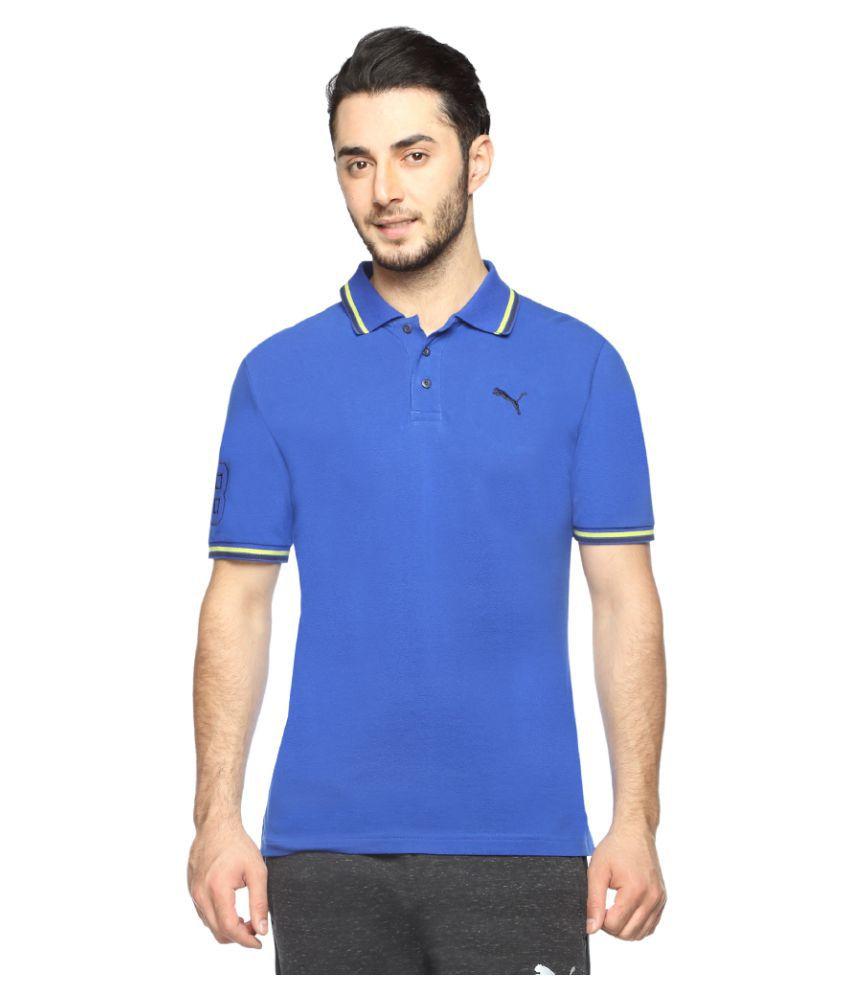 Puma Blue Cotton Polo T-Shirt Single Pack