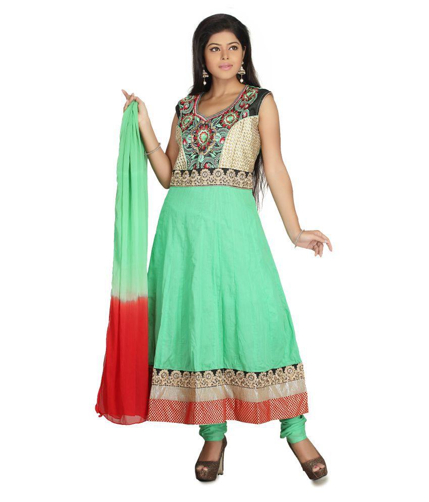 MantaKart Green Cotton Anarkali Stitched Suit