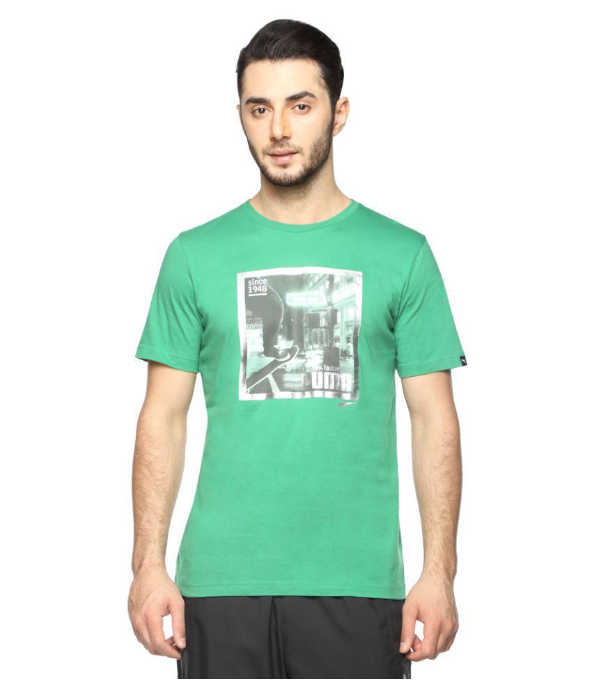 Puma Green Cotton T-Shirt Single Pack