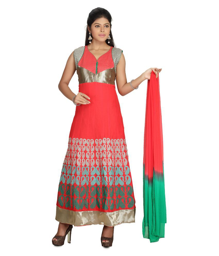 MantaKart Multicoloured Cotton Anarkali Stitched Suit