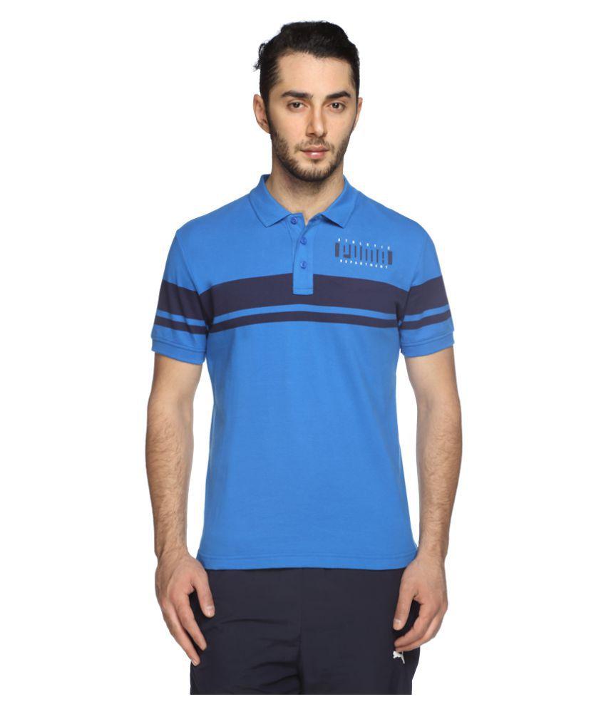 Puma Blue Cotton Polo T-Shirt Single Pack