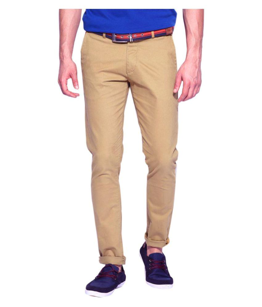 AD & AV Khaki Regular Flat Trouser
