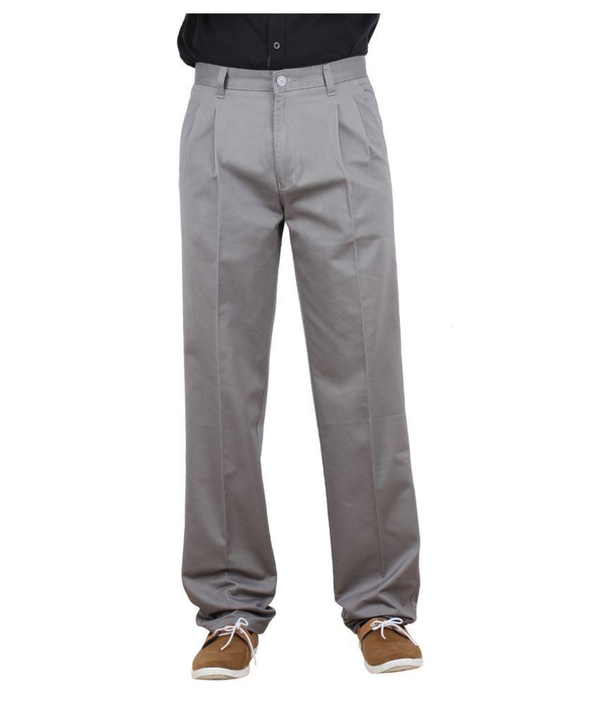 Maharaja Grey Regular Pleated Trouser