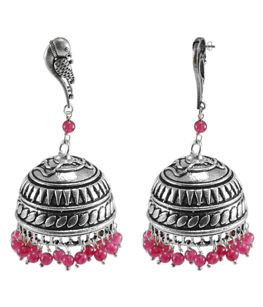 Silvesto India Pink Jhumki Single Pair