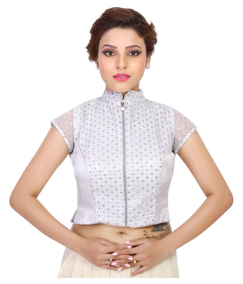 48e24bc7fd6825 Freedom Designs Silver Blouse - Buy Freedom Designs Silver Blouse Online at Low  Price - Snapdeal.com