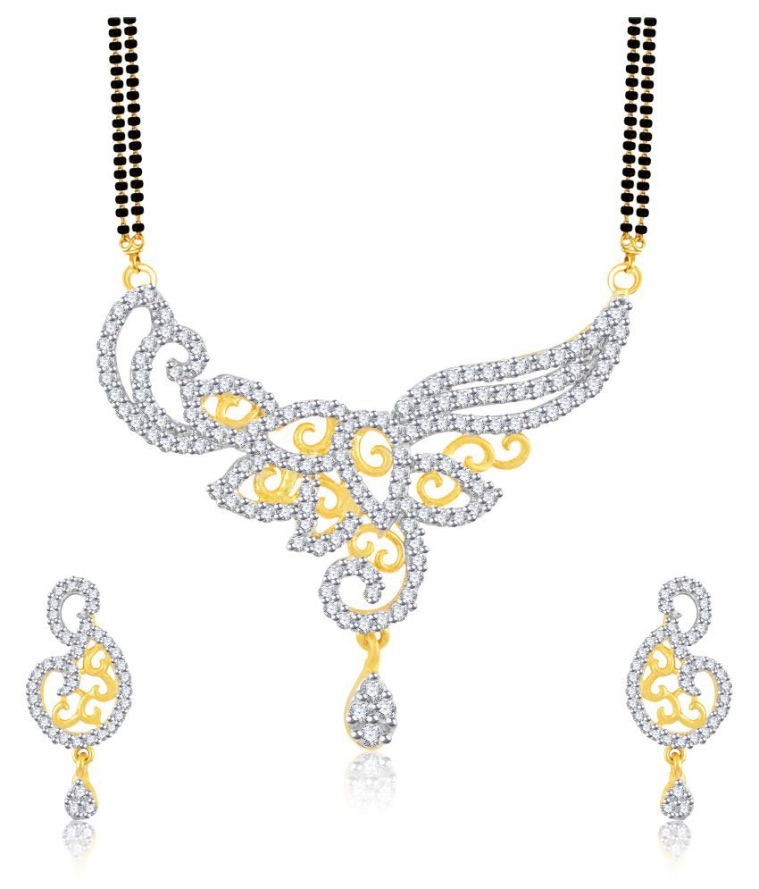 Vidhi Jewels Golden Brass Mangalsutra Chain With Earrings