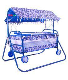 BabyGo Baby Cradle Cum Cot Cum Stroller Blue