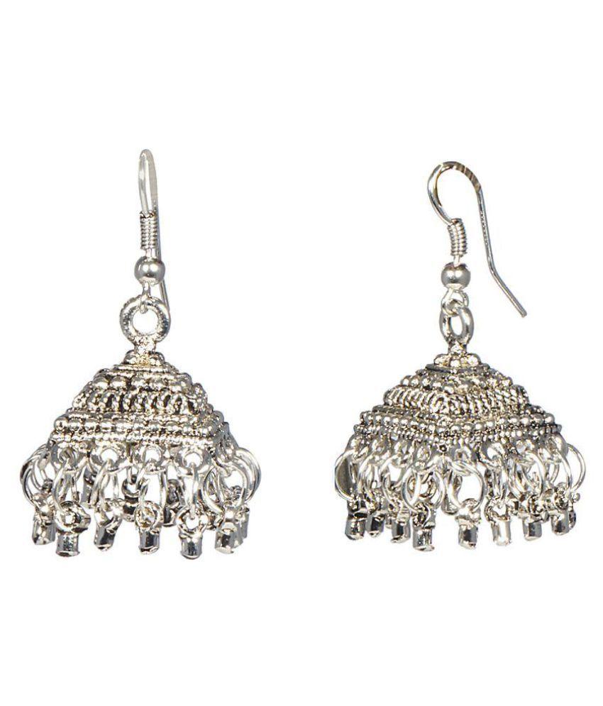 A K Creation Silver Earrings