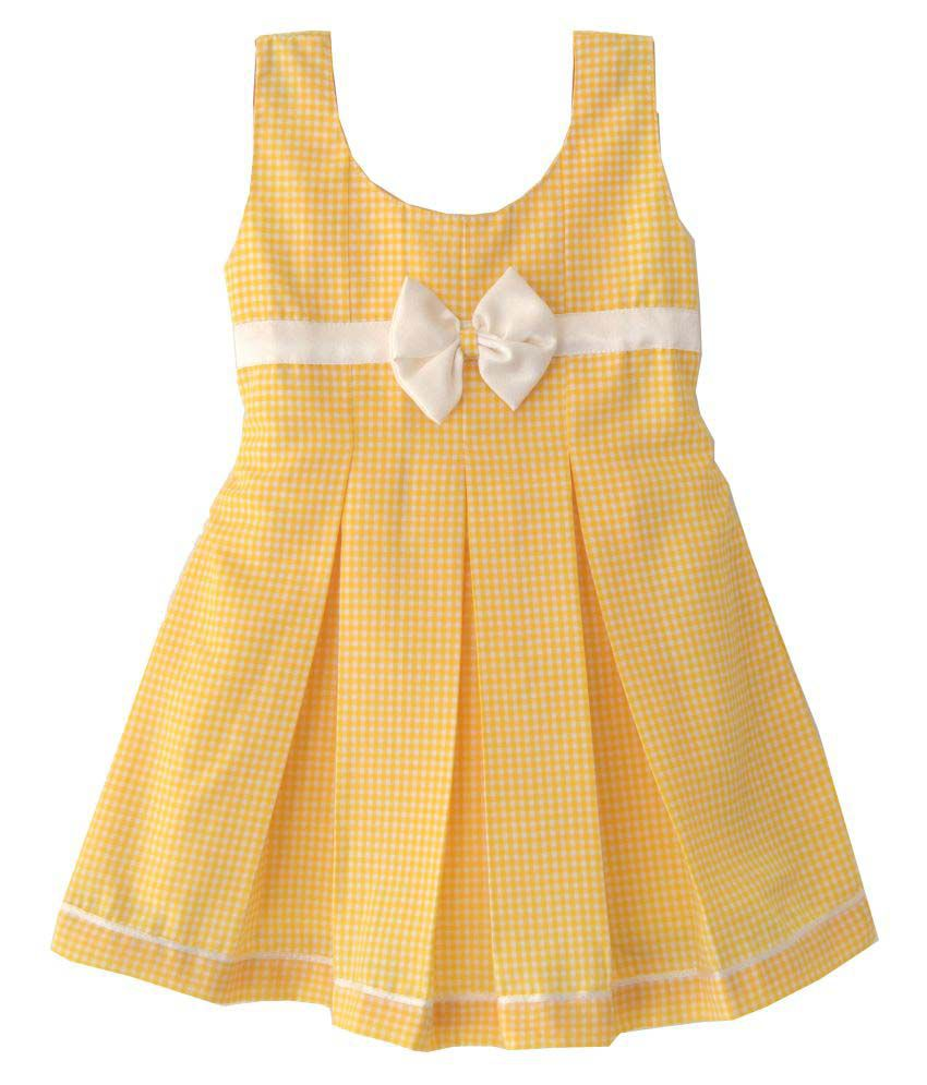 yellow check box. yellow check box pleated baby frock