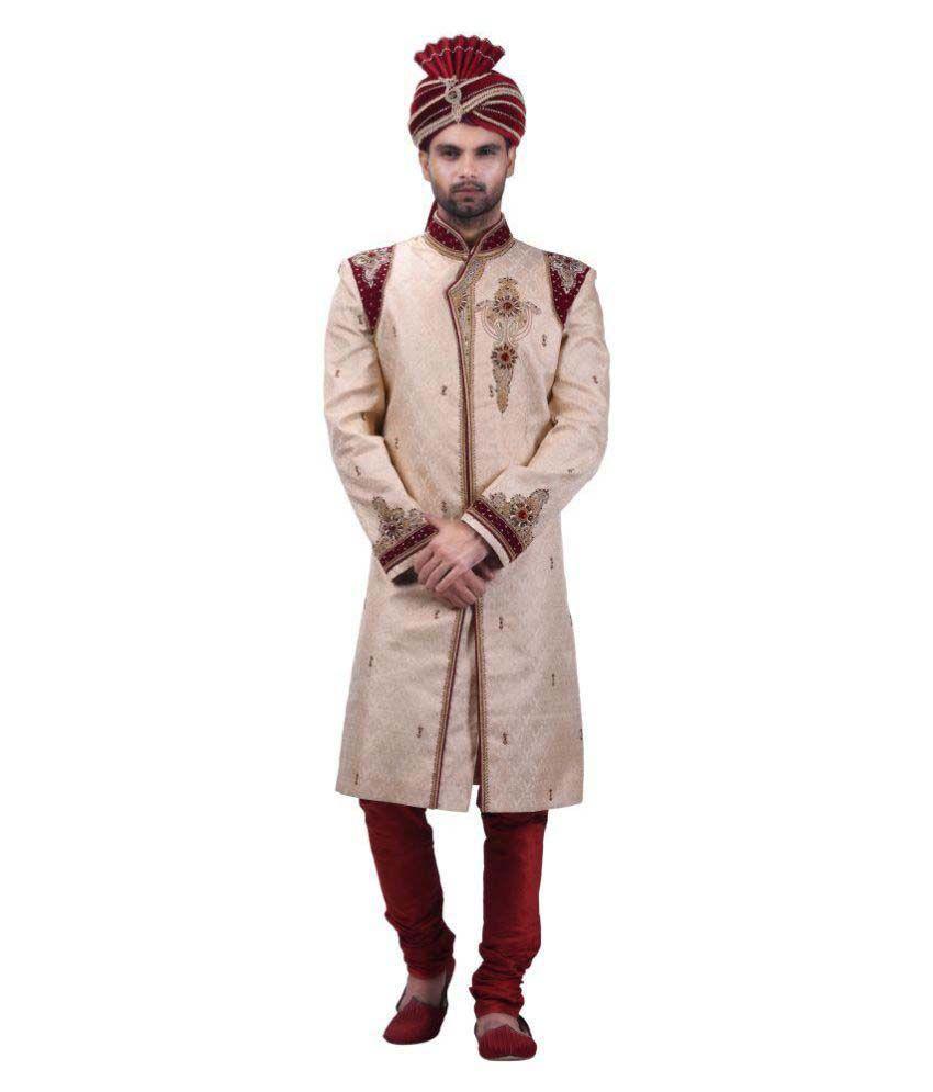 Prapti Beige Silk Sherwani