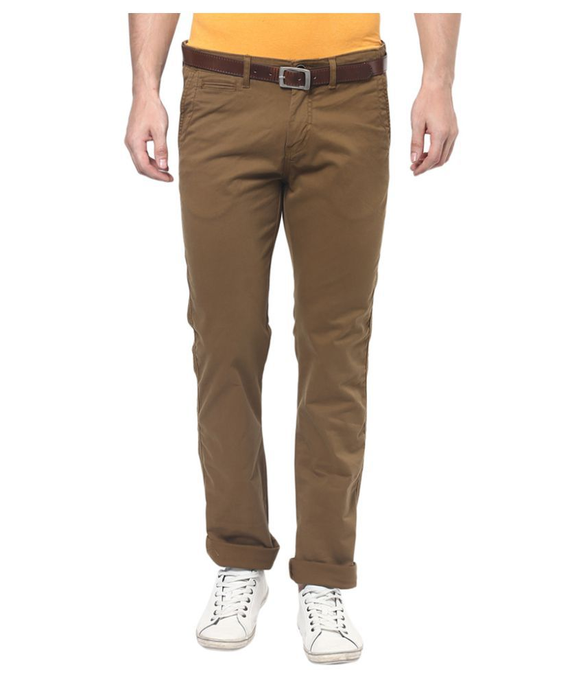 Celio Brown Slim Flat Trouser