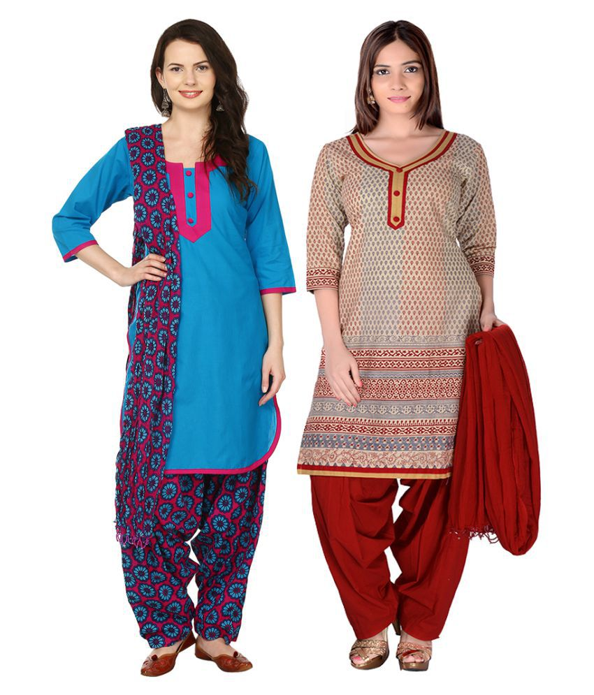 Maahi Blue Cotton Straight Stitched Suit