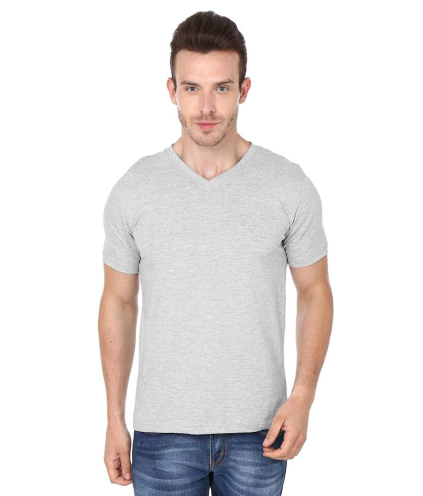 99tshirts Grey V-Neck T-Shirt