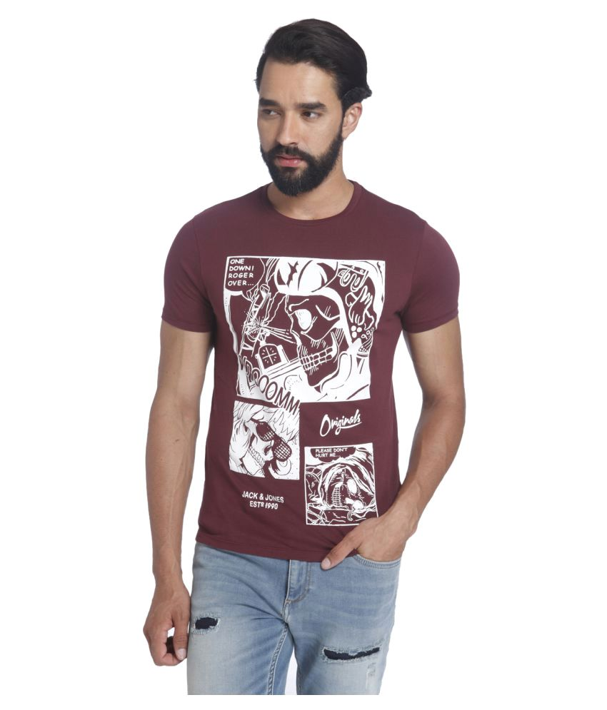 Jack & Jones Maroon Round T-Shirt