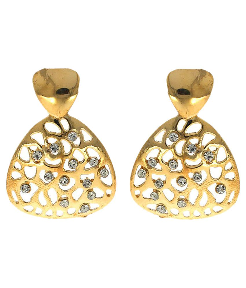 Anuradha Art Golden Finish Styled With Sparklign White Colour Stone Beautiful Drop Earrings