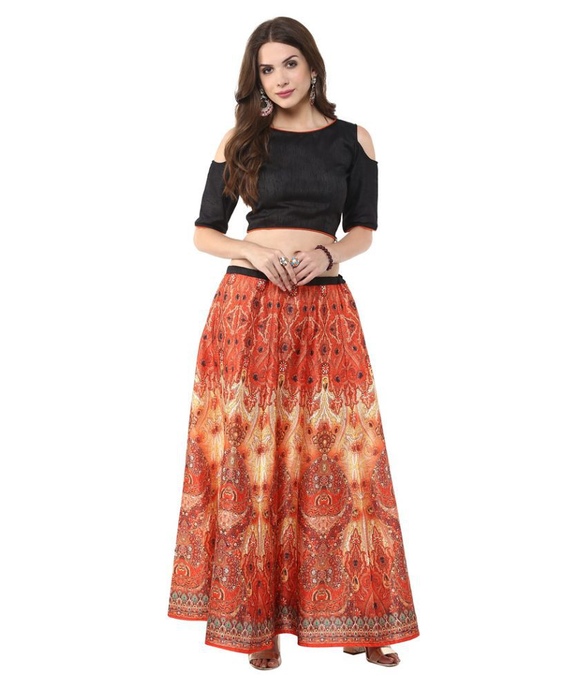 afadc68fc5da6 Buy Janasya Silk Straight Skirt with Crop Top Online at Best Prices in  India - Snapdeal