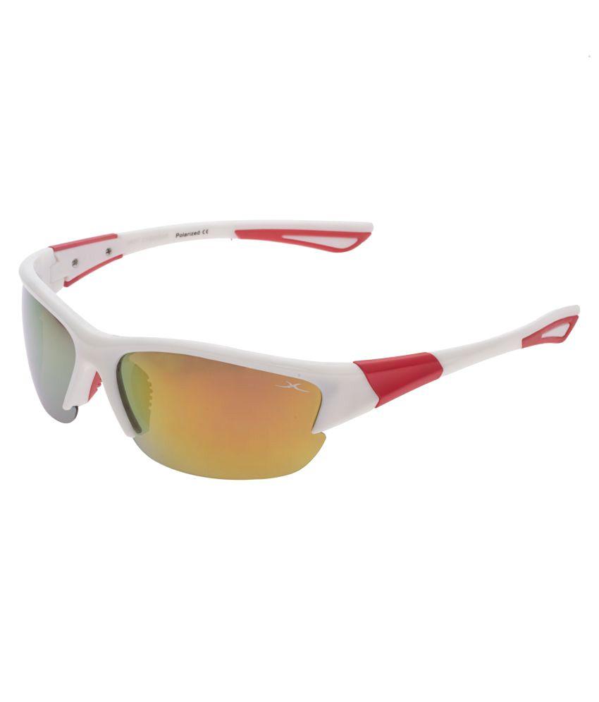 Vast Golden Wrap Around Sunglasses ( Polo_63004_C23_White_Red_Mirror_SG )