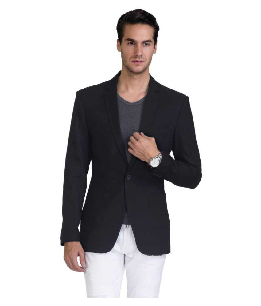 Vastra Innovation Black Solid Casual Blazers