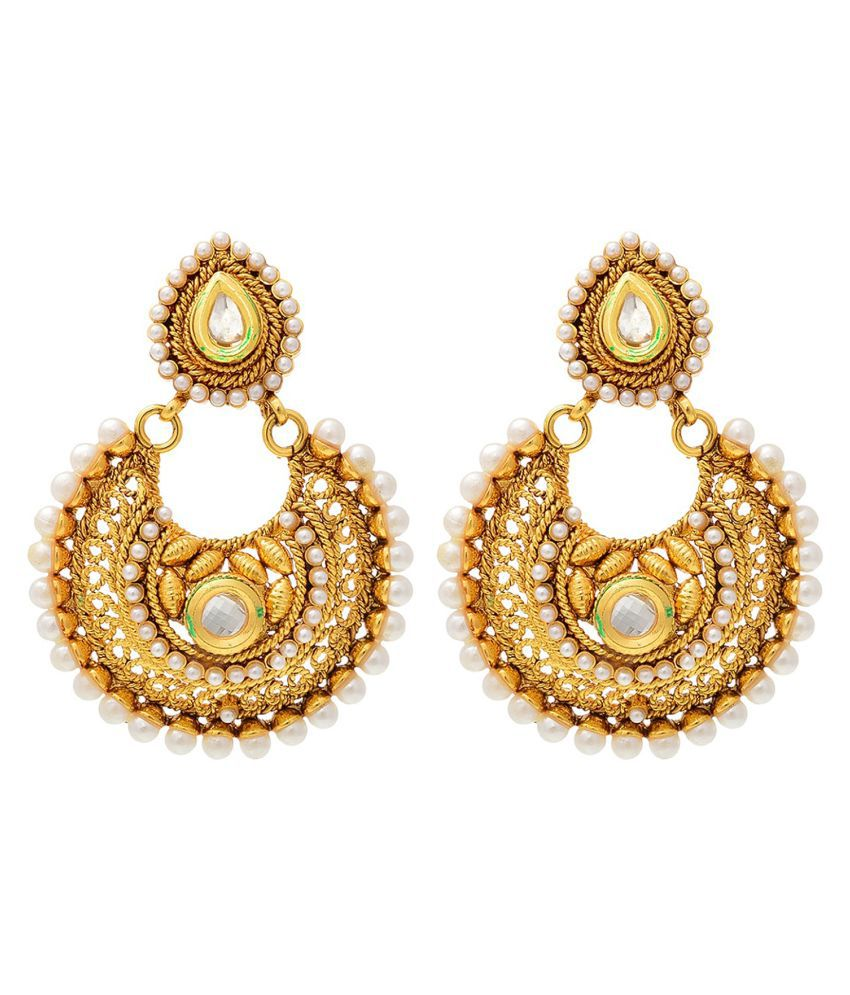 Aaishwarya Golden Ethnic Chandelier Earrings - Buy Aaishwarya ...