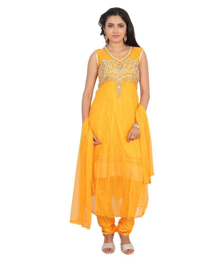 Hita Yellow Net Anarkali Stitched Suit