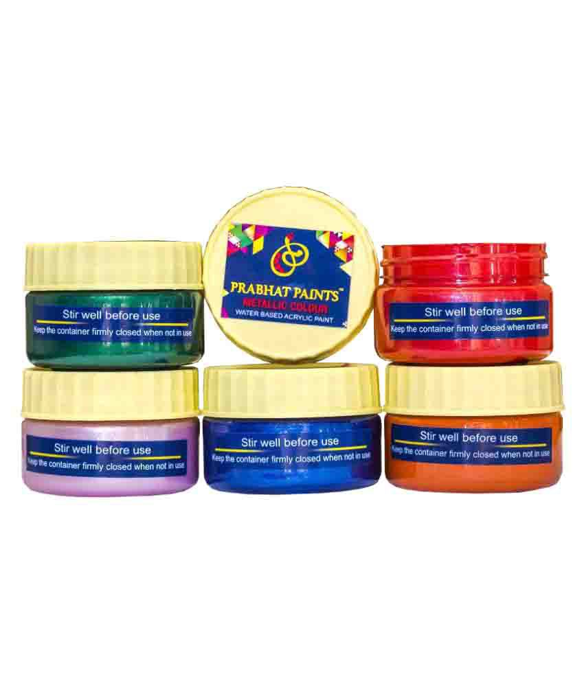 Prabhat Paints Water Based 5 Piece Water Based Metallic  / Pearl Colours - 50 gm each