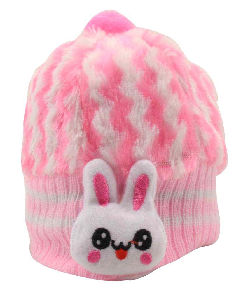 Tiekart Pink Woolen Kids Cap