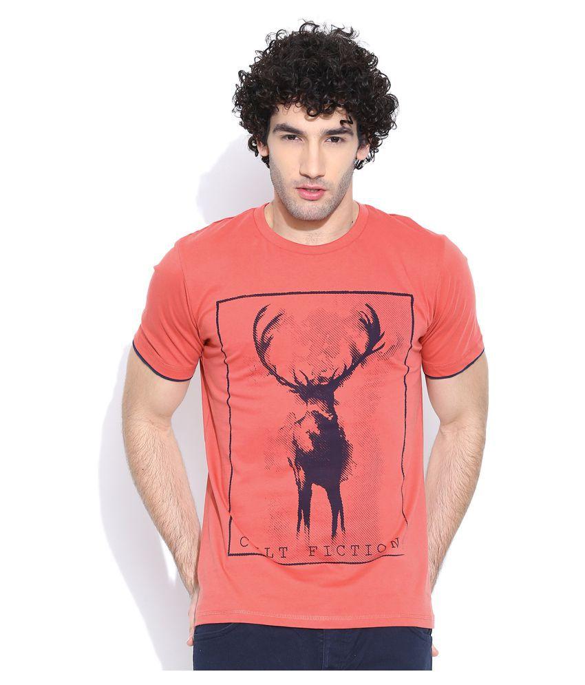 Cult Fiction Peach Round T Shirt