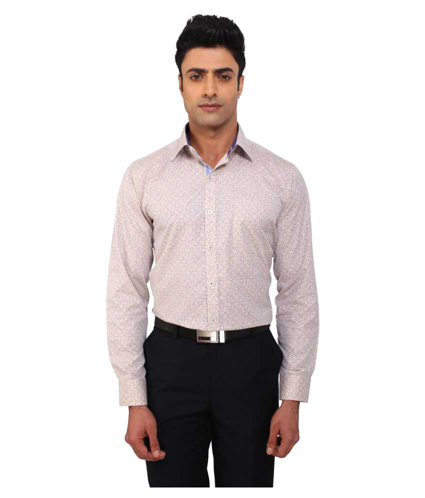 Warewell Beige Formal Regular Fit Shirt