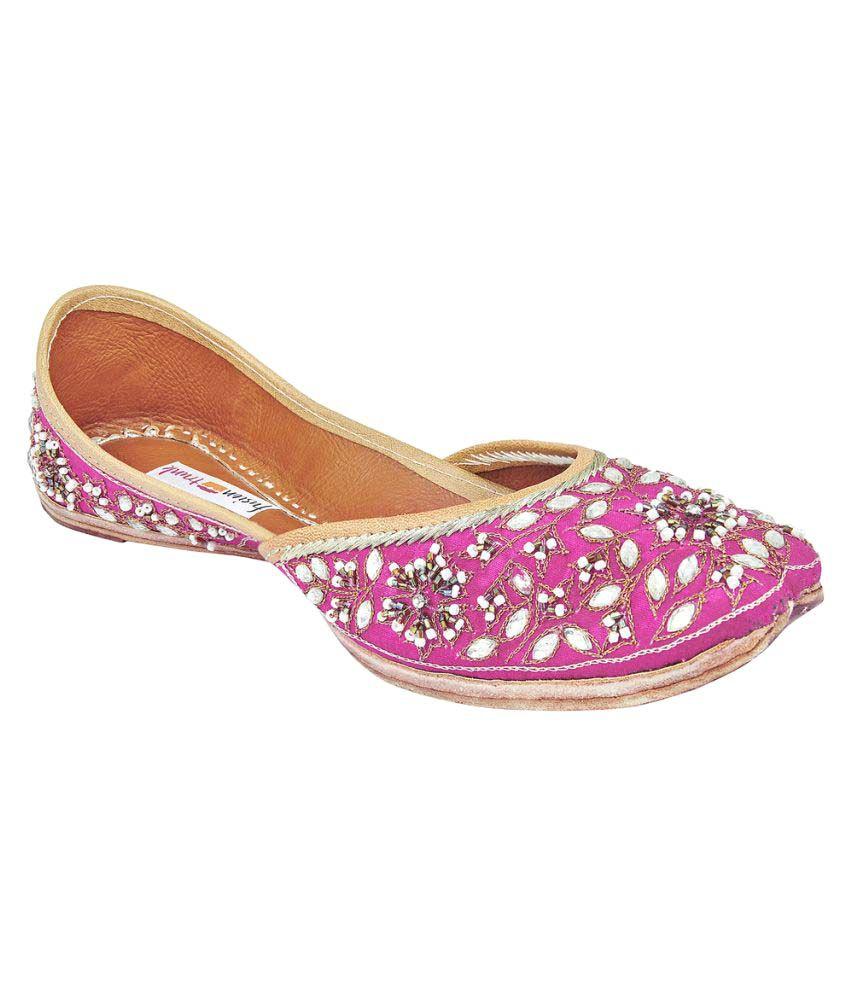 Fusion Trunk Pink Flat Ethnic Footwear