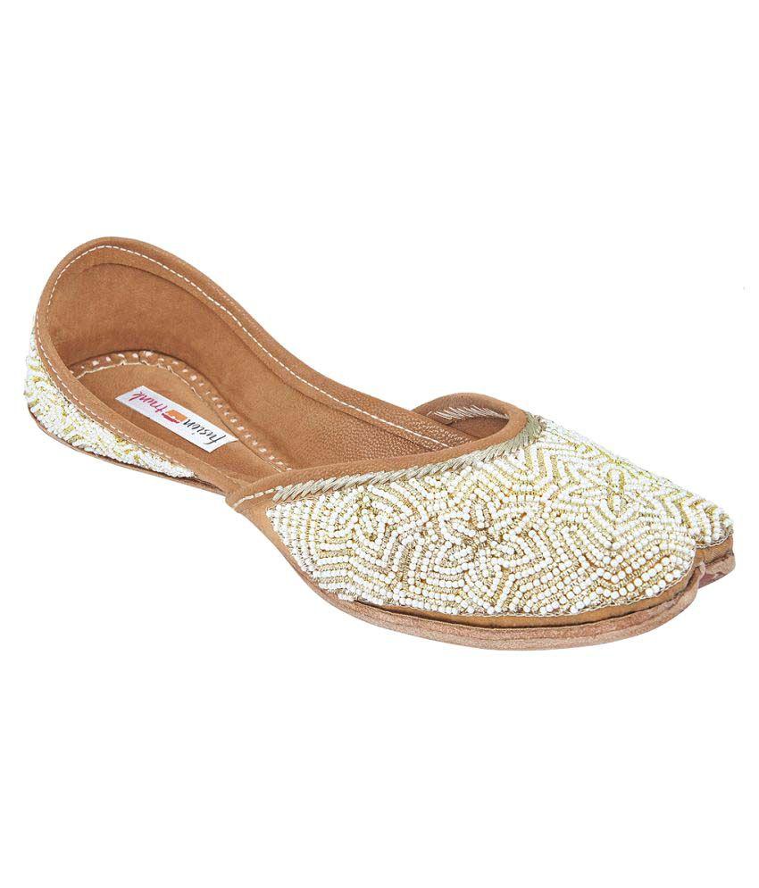 Fusion Trunk White Flat Ethnic Footwear