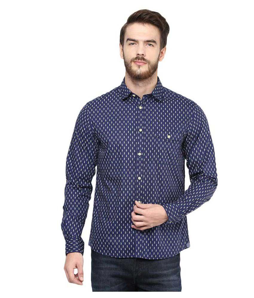 Celio Blue Casuals Regular Fit Shirt
