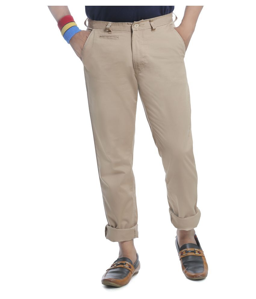 Burbn Beige Regular Flat Trouser