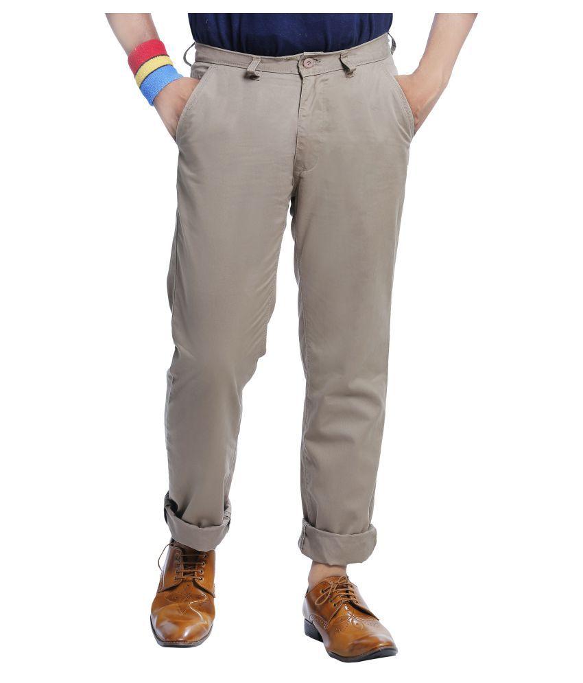Burbn Beige Regular Flat Trouser