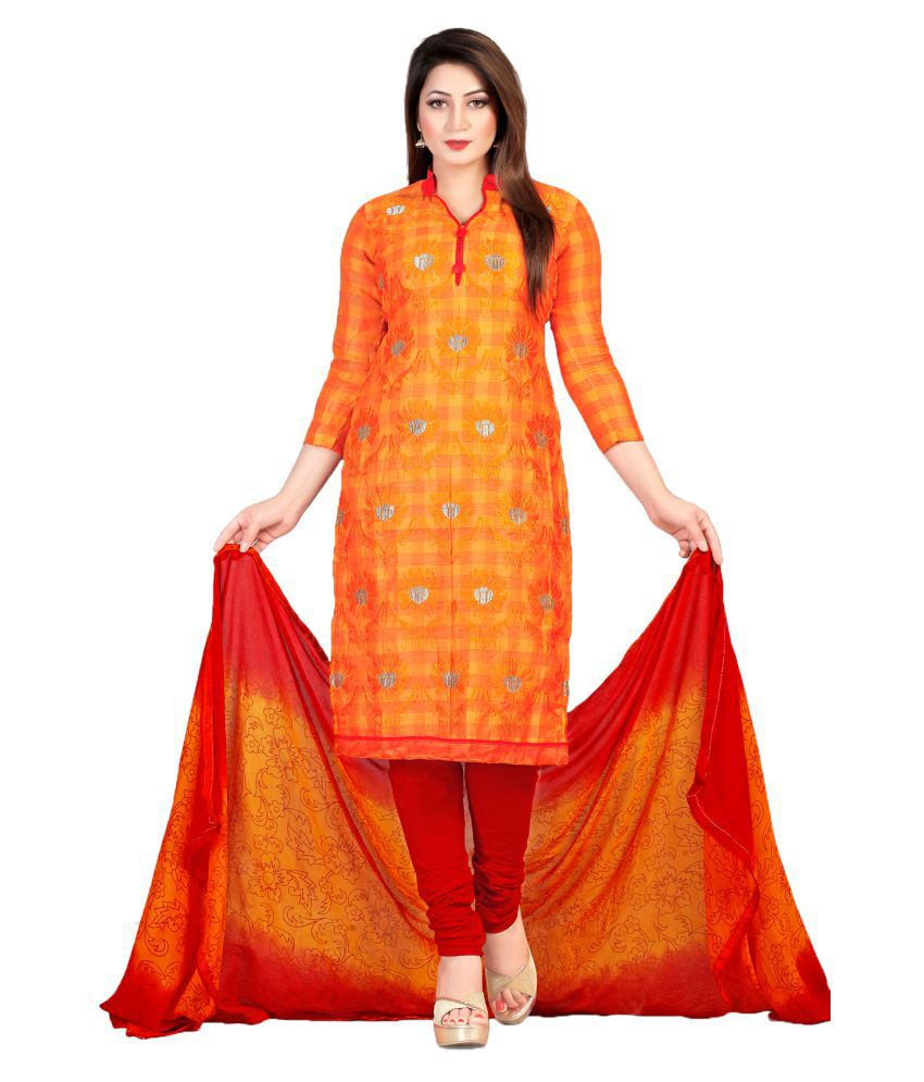 The Traditional Tailor Orange Chanderi Dress Material