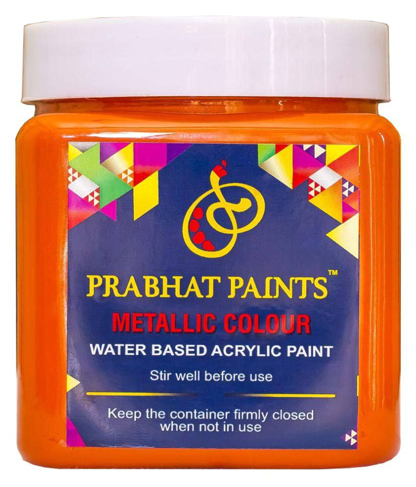 Prabhat Paints Acrylic Metallic / Pearl Colours(500gm, Orange Peel) (Water Based Paint)