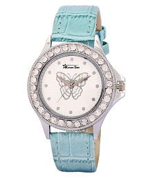 Roman Star Blue With Leather Strap Analog Watch For Women