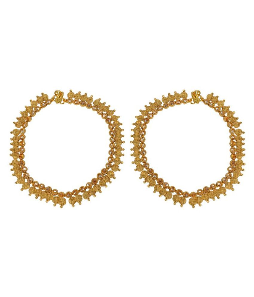 Much More Golden Alloy 18k Gold Plated Shahi Look Polki Anklets- Payal