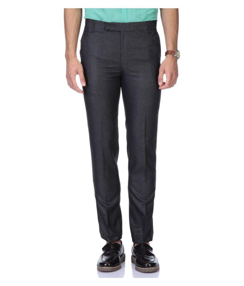 Rich Blue Black Regular Pleated Trouser