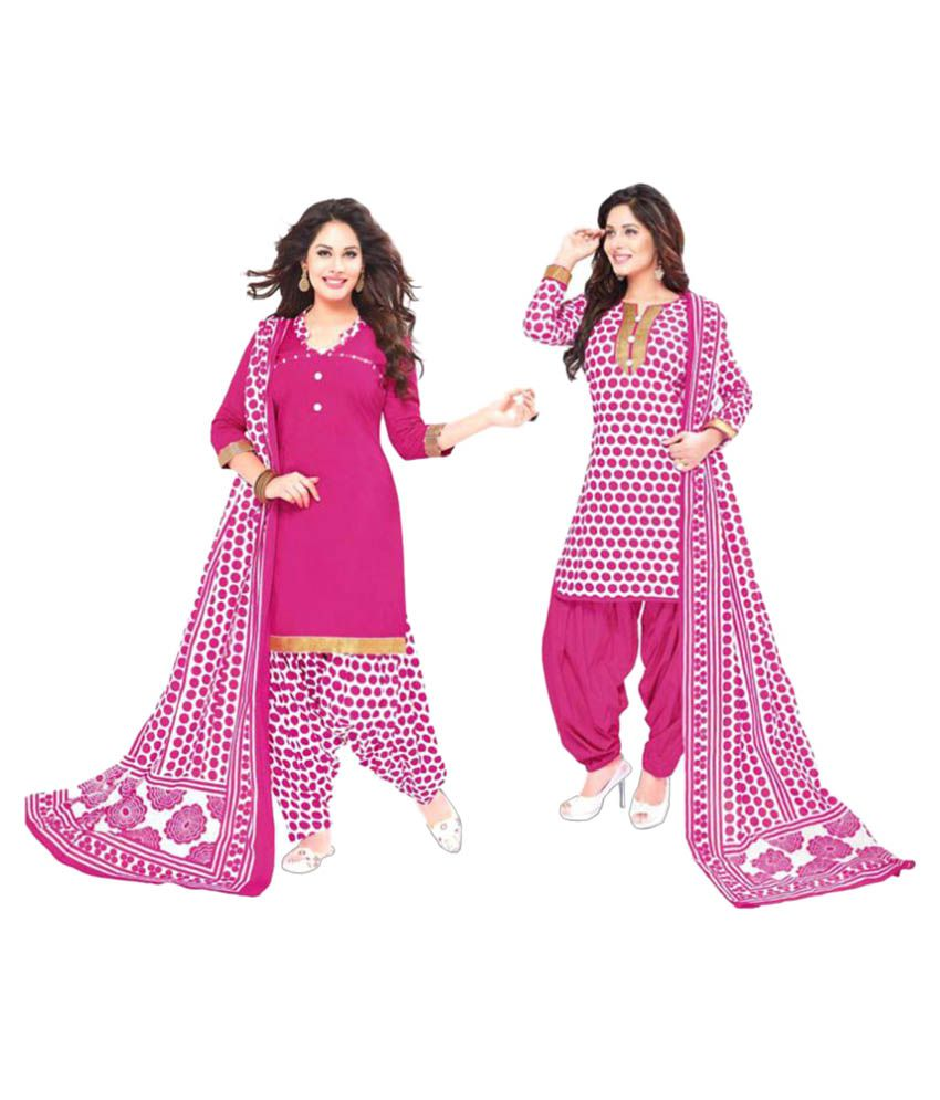 f0757f7d6 Baalar White and Pink Cotton Dress Material - Buy Baalar White and Pink Cotton  Dress Material Online at Best Prices in India on Snapdeal