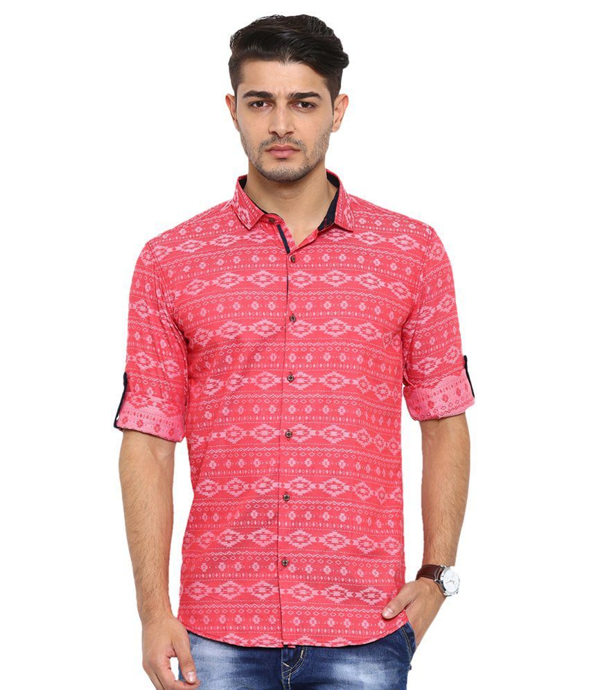 WITH Red Casuals Slim Fit Shirt