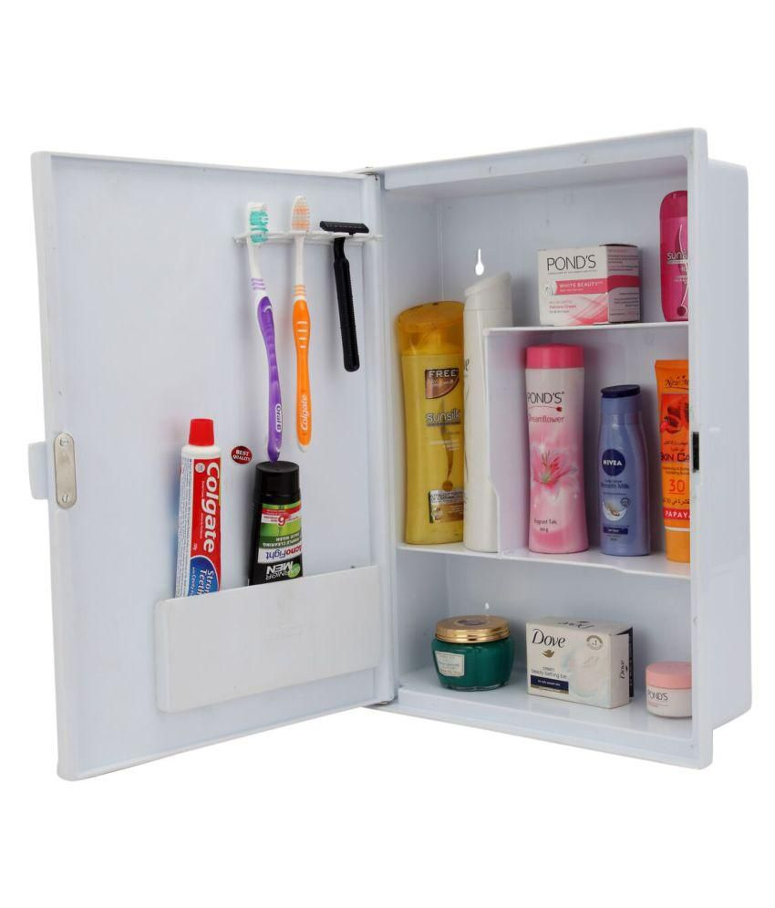Zahab Duster White Plastic Bathroom Mirror Cabinet