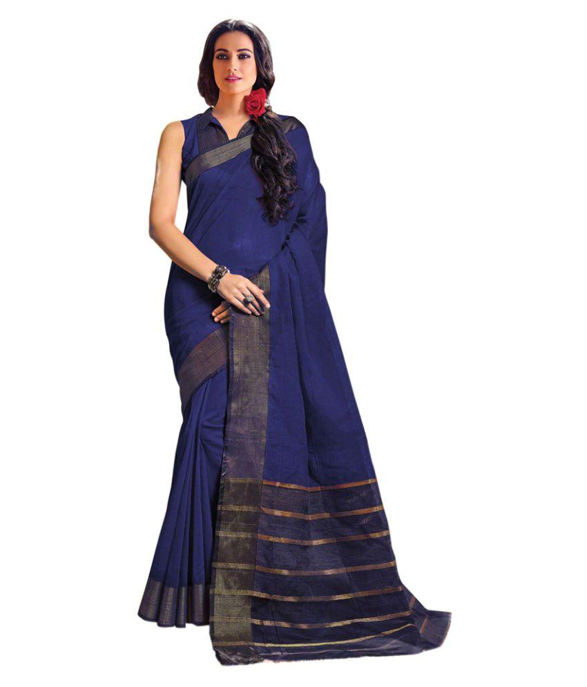 Swaron Blue Cotton Saree