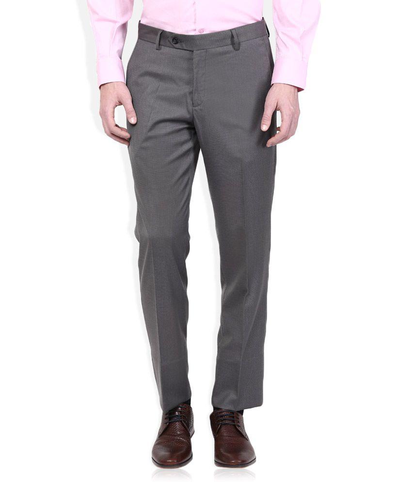 Wills Lifestyle Grey Slim Flat Trouser