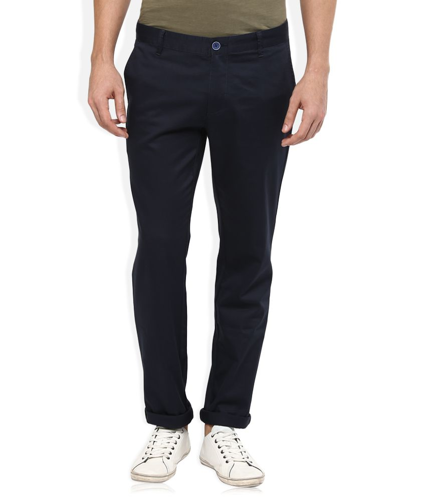 Wills Lifestyle Navy Blue Skinny Flat Trouser
