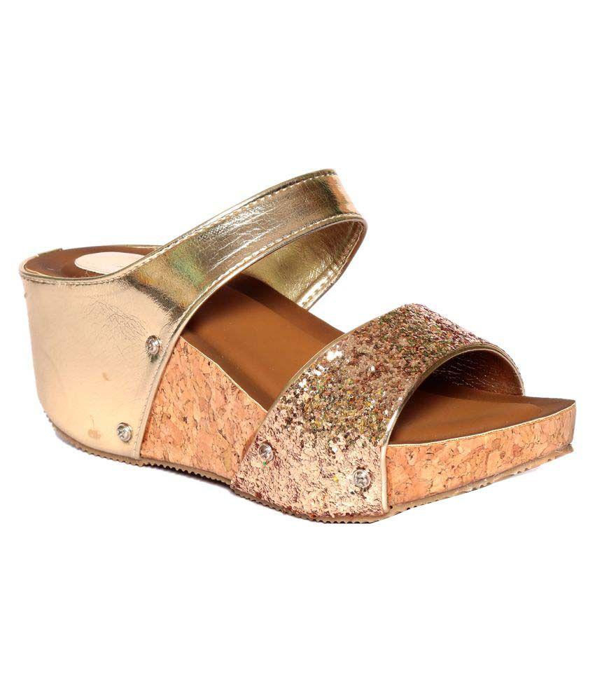 Adorn Gold Wedges Heels