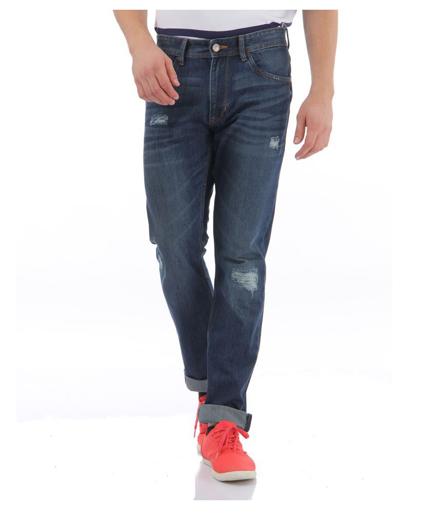 Flying Machine Blue Regular Fit Distressed