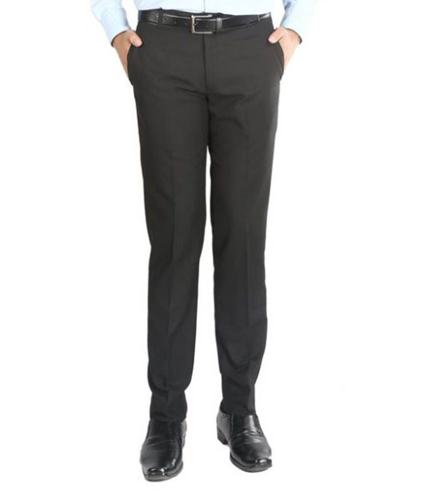 Numerics Black Slim Flat Trouser