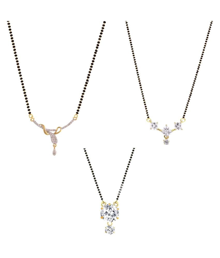 Archi Collection CZ Mangalsutra Combo Of 3 For Women