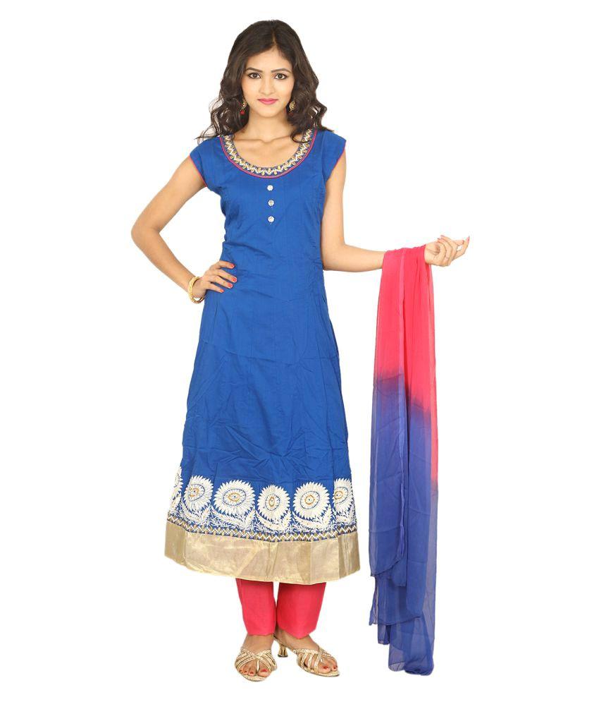 Hita Blue Cotton Anarkali Stitched Suit